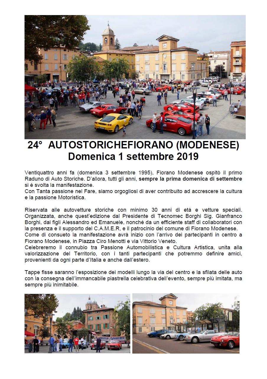 24° Raduno Autostoriche Fiorano (MO) – 1 Settembre 2019