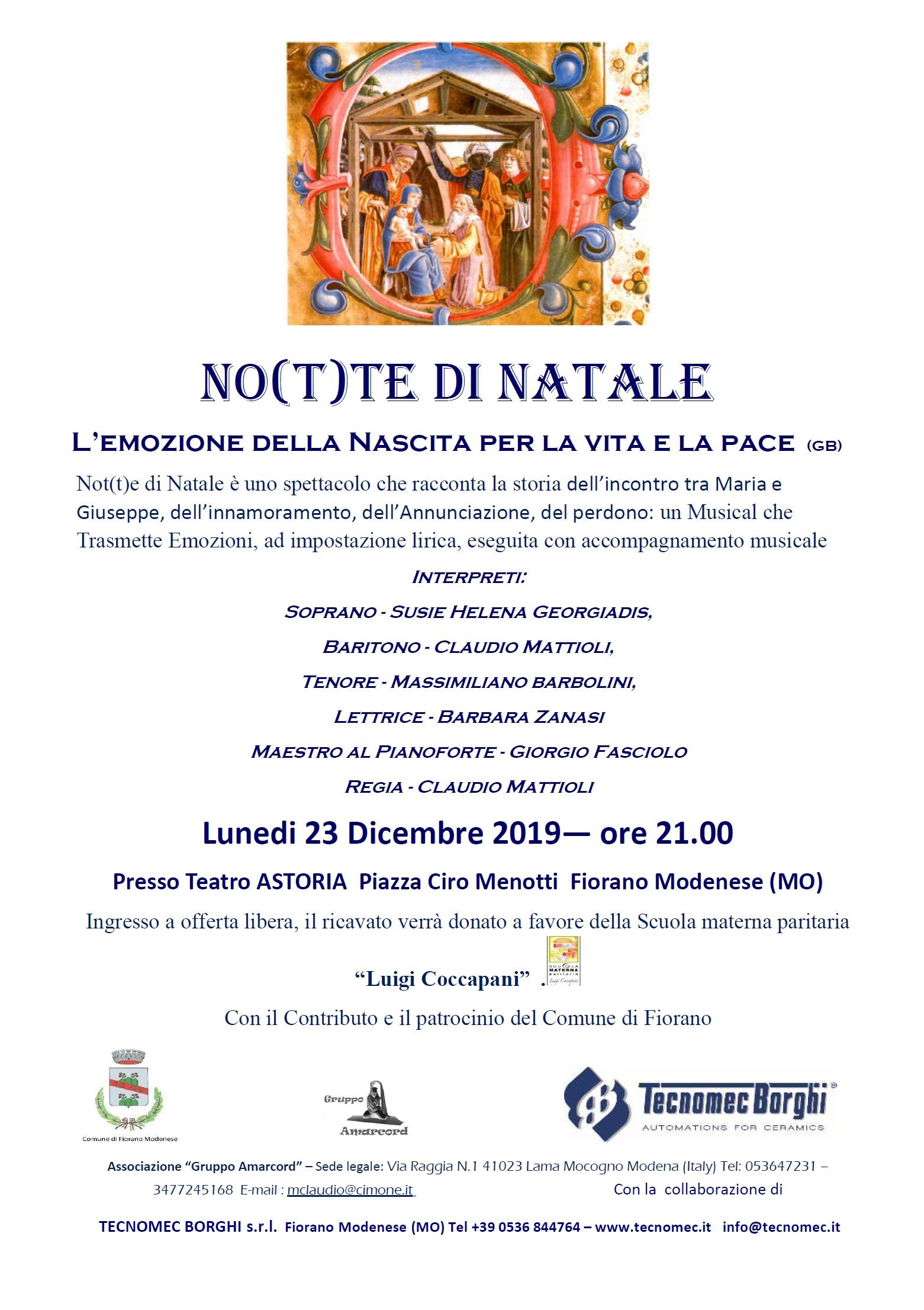 No(t)te di Natale – 23 Dicembre 2019 ore 21.00 – Teatro Astoria – Fiorano Modenese (MO)