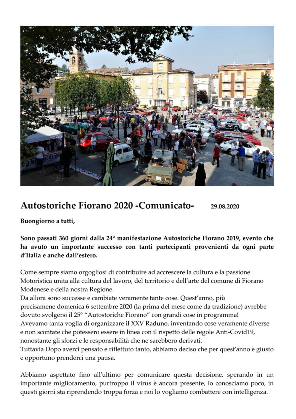 COMUNICATO Raduno Autostoriche Fiorano 2020